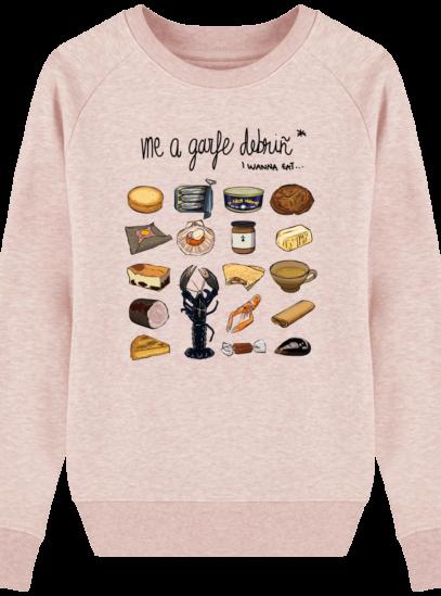 Sweat Femme éthique Gastronomie Bretonne - Cream Heather Pink - Face