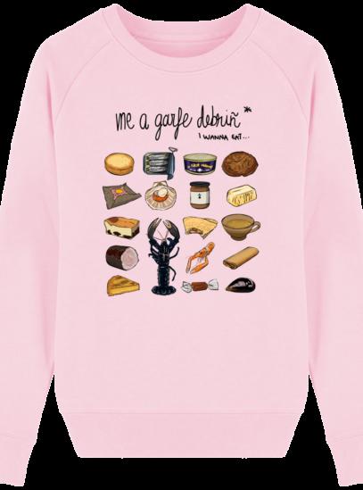 Sweat Femme éthique Gastronomie Bretonne - Cotton Pink - Face