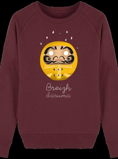 Sweat Femme éthique Ciré jaune - Burgundy - Face