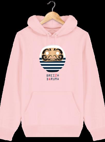 Sweat à capuche Unisexe éthique Marinière - Cotton Pink - Face