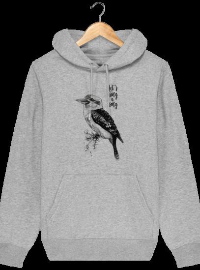 Sweat à capuche Unisexe éthique Kookaburra - Heather Grey - Face