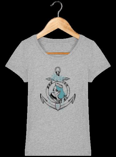T-Shirt Femme Bretonne Breizh Gril Bleu - Heather Grey - Face