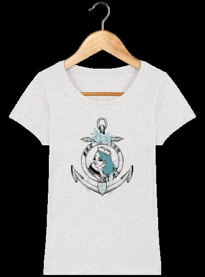 T-Shirt Femme Bretonne Breizh Gril Bleu - Cream Heather Grey - Face