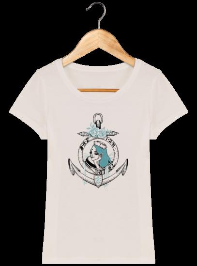 T-Shirt Femme Bretonne Breizh Gril Bleu - Off White - Face