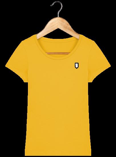 T-Shirt Femme Bretonne Broderie Breizh Traveller - Spectra Yellow - Face
