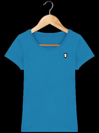 T-Shirt Femme Bretonne Broderie Breizh Traveller - Azur - Face