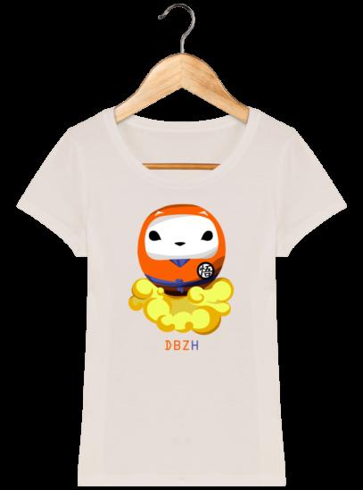 T-Shirt Femme éthique Dragon BZH - Off White - Face