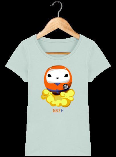 T-Shirt Femme éthique Dragon BZH - Caribbean Blue - Face