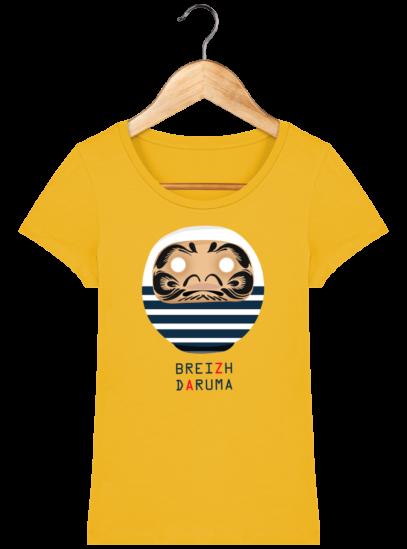 T-Shirt Femme éthique Marinière - Spectra Yellow - Face