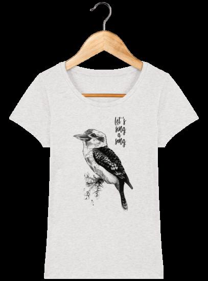 T-Shirt Femme éthique Kookaburra - Cream Heather Grey - Face