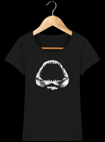 T-Shirt Femme éthique Shark - Black - Face