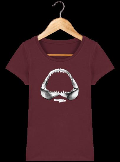 T-Shirt Femme éthique Shark - Burgundy - Face