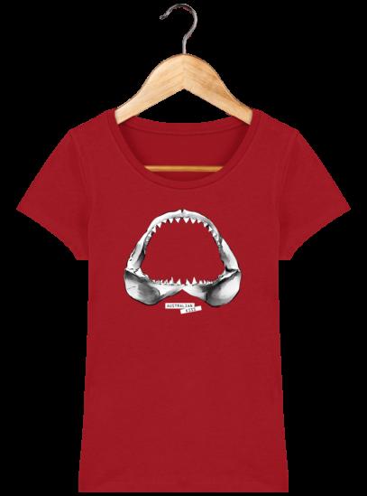T-Shirt Femme éthique Shark - Red - Face