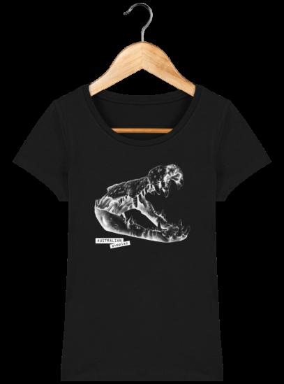 T-Shirt Femme éthique Crocodile - Black - Face