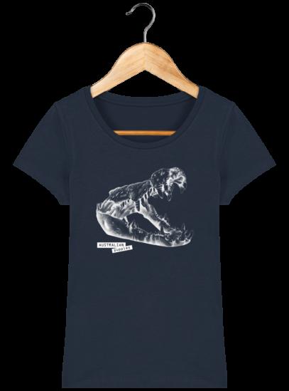 T-Shirt Femme éthique Crocodile - French Navy - Face