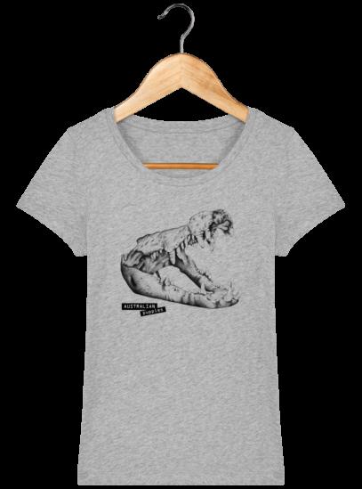 T-Shirt Femme éthique Crocodile - Heather Grey - Face