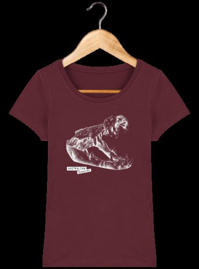 T-Shirt Femme éthique Crocodile - Burgundy - Face