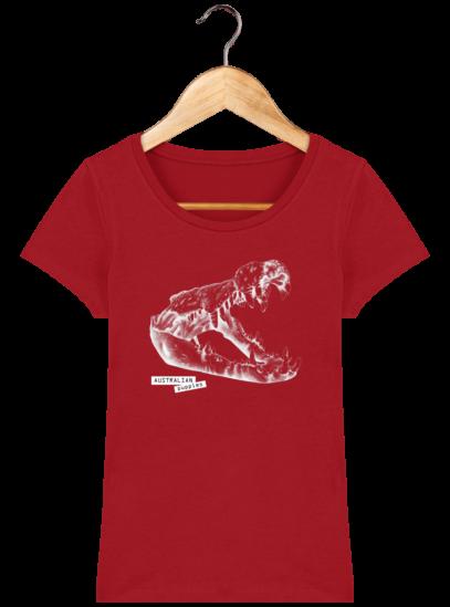 T-Shirt Femme éthique Crocodile - Red - Face