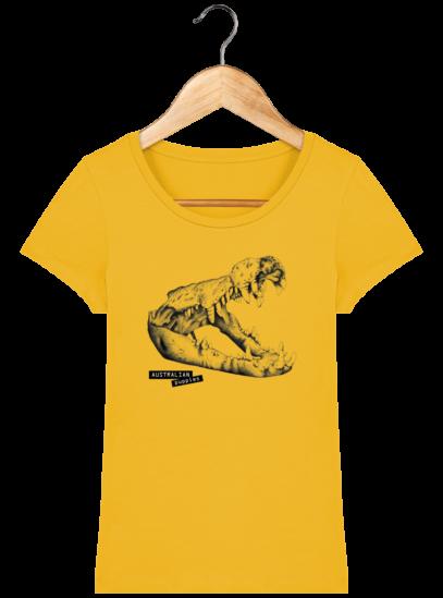 T-Shirt Femme éthique Crocodile - Spectra Yellow - Face