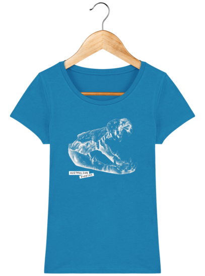 T-Shirt Femme éthique Crocodile - Azur - Face