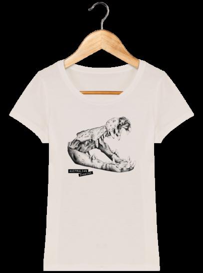 T-Shirt Femme éthique Crocodile - Off White - Face