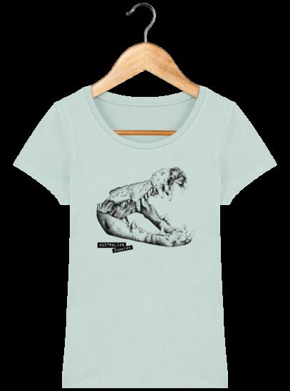 T-Shirt Femme éthique Crocodile - Caribbean Blue - Face