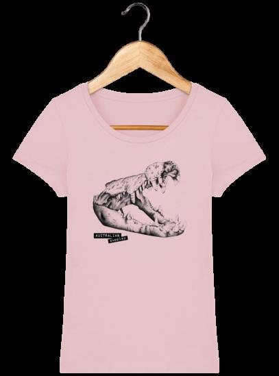 T-Shirt Femme éthique Crocodile - Cotton Pink - Face