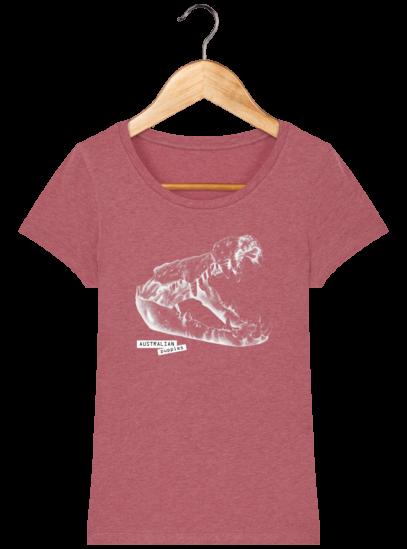 T-Shirt Femme éthique Crocodile - Heather Cranberry - Face