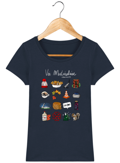 T-Shirt Femme éthique Vie Montréalaise - French Navy - Face