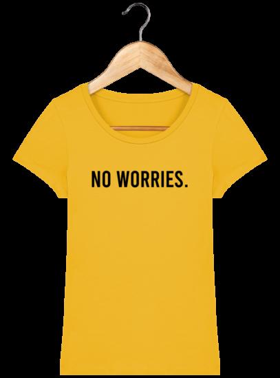T-Shirt Femme éthique No Worries - Spectra Yellow - Face