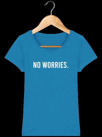 T-Shirt Femme éthique No Worries - Azur - Face