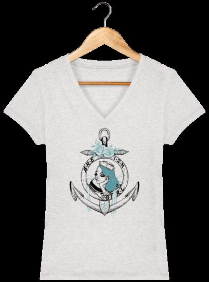 T-Shirt Femme V Bretonne Breizh Gril Bleu - Cream Heather Grey - Face
