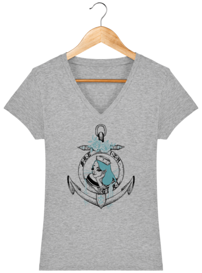 T-Shirt Femme V Bretonne Breizh Gril Bleu - Heather Grey - Face