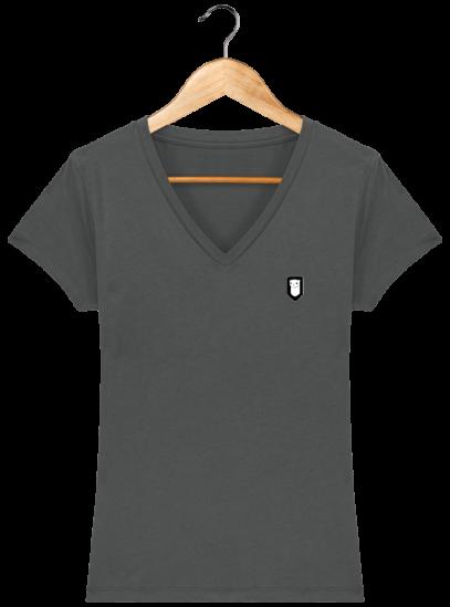 T-Shirt Femme V Bretonne Broderie Breizh Traveller - Anthracite - Face