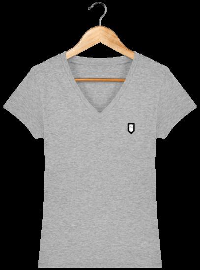 T-Shirt Femme V Bretonne Broderie Breizh Traveller - Heather Grey - Face