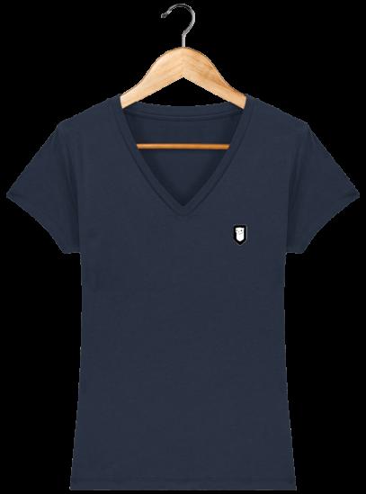 T-Shirt Femme V Bretonne Broderie Breizh Traveller - French Navy - Face