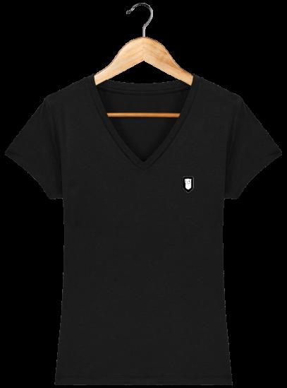 T-Shirt Femme V Bretonne Broderie Breizh Traveller - Black - Face
