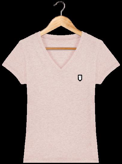 T-Shirt Femme V Bretonne Broderie Breizh Traveller - Cream Heather Pink - Face