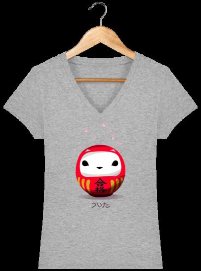 T-Shirt Femme V éthique Cerisier Japonais - Heather Grey - Face