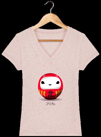 T-Shirt Femme V éthique Cerisier Japonais - Cream Heather Pink - Face