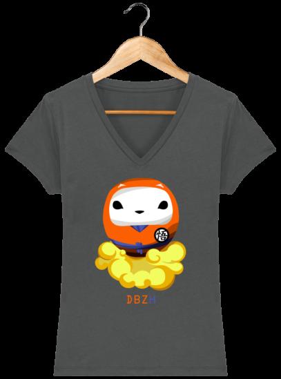 T-Shirt Femme V éthique Dragon BZH - Anthracite - Face