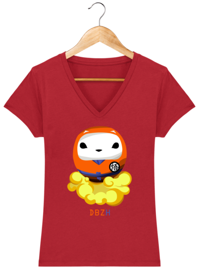 T-Shirt Femme V éthique Dragon BZH - Red - Face
