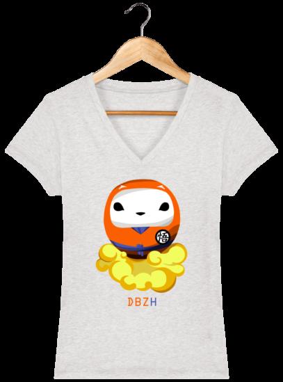 T-Shirt Femme V éthique Dragon BZH - Cream Heather Grey - Face