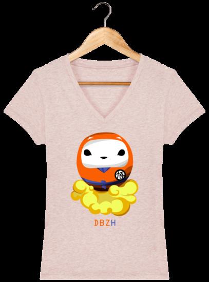T-Shirt Femme V éthique Dragon BZH - Cream Heather Pink - Face
