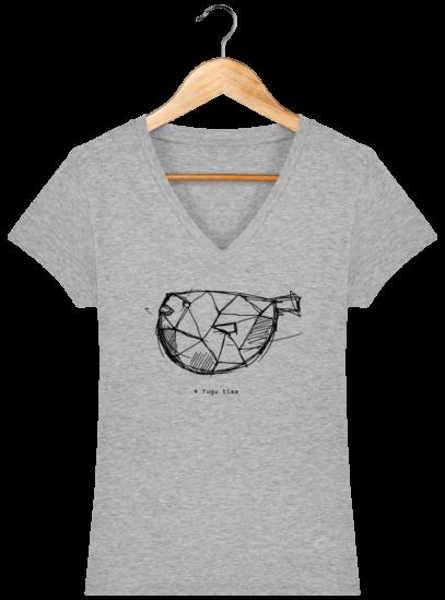 T-Shirt Femme V éthique Fugu time - Heather Grey - Face