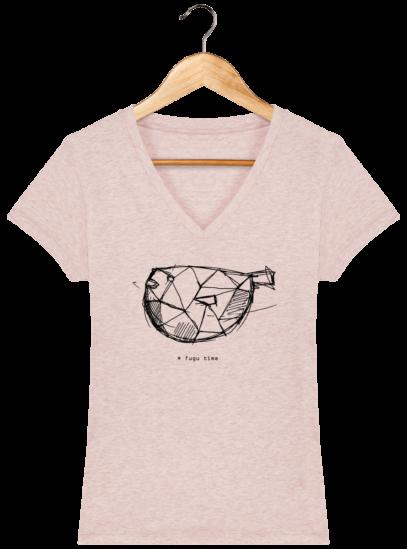 T-Shirt Femme V éthique Fugu time - Cream Heather Pink - Face