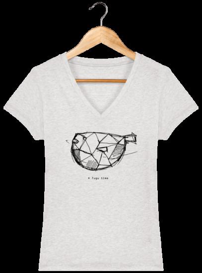 T-Shirt Femme V éthique Fugu time - Cream Heather Grey - Face