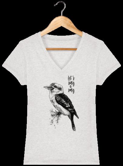 T-Shirt Femme V éthique Kookaburra - Cream Heather Grey - Face