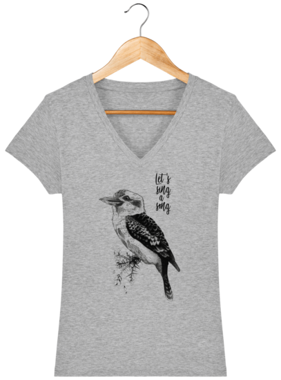 T-Shirt Femme V éthique Kookaburra - Heather Grey - Face
