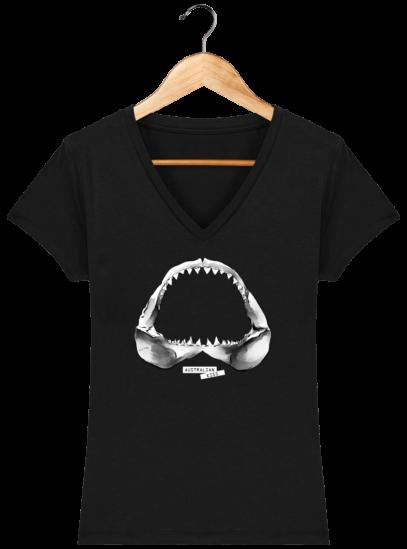 T-Shirt Femme V éthique Shark - Black - Face